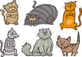 cute cats set cartoon illustration