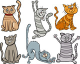 funny cats set cartoon illustration