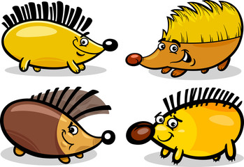 hedgehogs set cartoon illustration