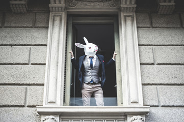 rabbit mask man appeared at the window
