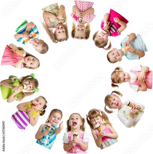 Group of kids or children eating ice cream in circle