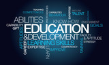 Education development word text tag cloud image