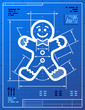 Gingerbread man symbol like blueprint drawing. Vector concept