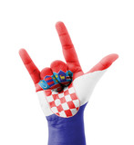 Hand making I love you sign, Croatia flag painted
