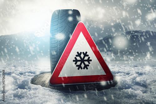 canvas print picture Snow Tire