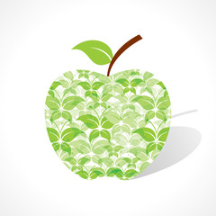 Green butterfly make a apple stock vector