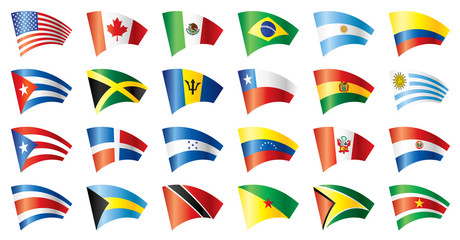 Moving flags set - America. 24 Vector flags.