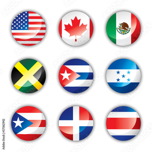Glossy button flags - North and Central America
