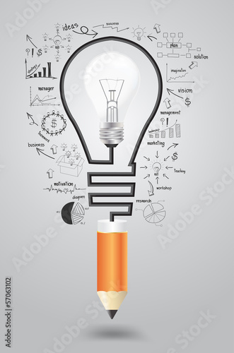 Business strategy plan concept idea, Light bulb with pencil