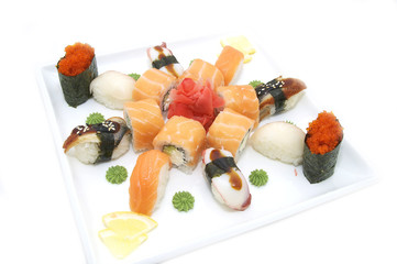sushi seafood on a white background