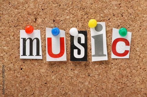 The word Music on a cork notice board