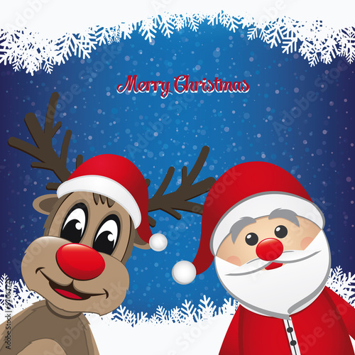 santa and reindeer winter snowy background