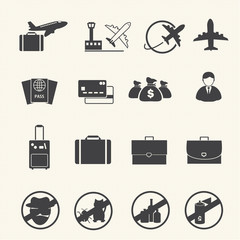 Airport icon set. Vector