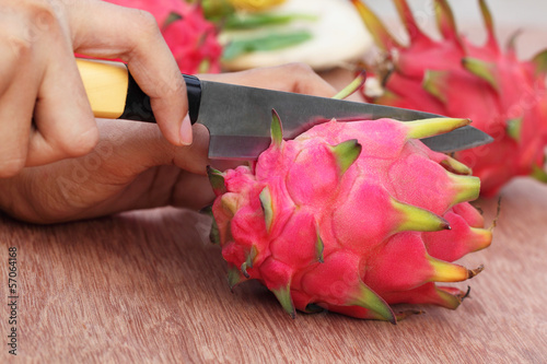 Cutting dragon fruit