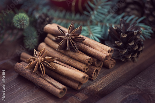 Christmas still life: cinnamon, anise and fir-cones, studio shot