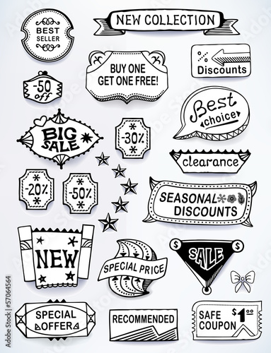Sales messages set of promotional english text labels