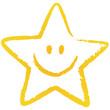 Gelber, locker gezeichneter Stern-Smiley, Vektor/freigestellt