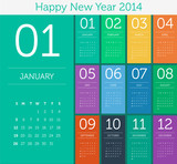 Calendar 2014 - flat design color