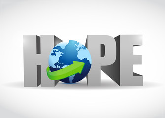 hope 3d text and globe illustration