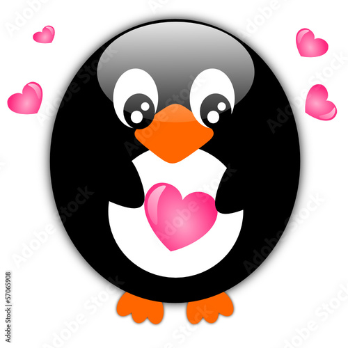 Cute penguin with hearts