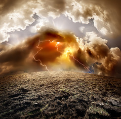 Storm, thunder and lightning