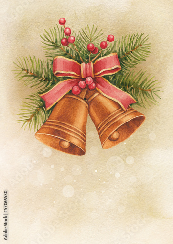 Vintage Christmas card. Watercolor bells and pine