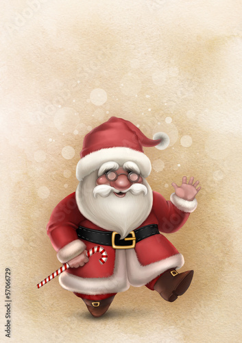 Christmas card with illustration of Santa Claus