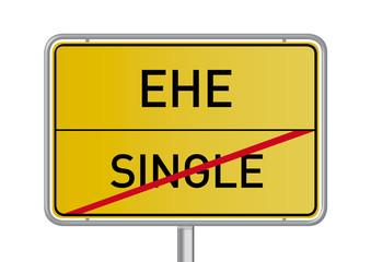 Single; Ehe; Liebe; Paar; Sonne, Bindung; Ortsschild; Verkehrssc