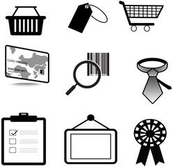 Silhouette sales and commerce material icon collection set