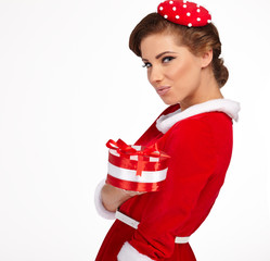 Vintage sexy girl wearing santa claus clothes