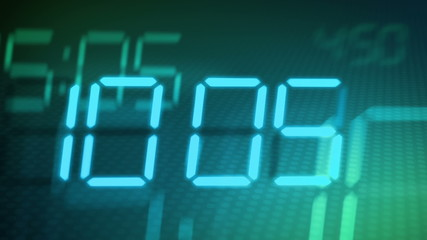 Accelerated digital clock, abstract background  (8am to 20).