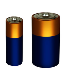 Household small batteries, power packs isolated over white