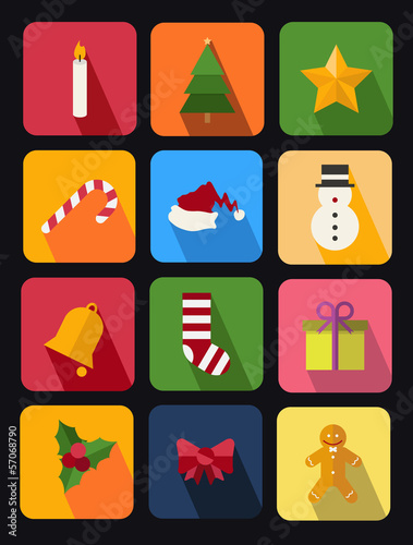 flat icons set 11 chrismas theme
