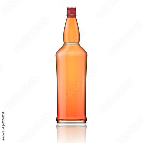 Glass whiskey bottle with red cap.