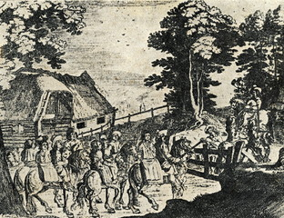 Latvian peasants wedding-party (1633, Livonia)