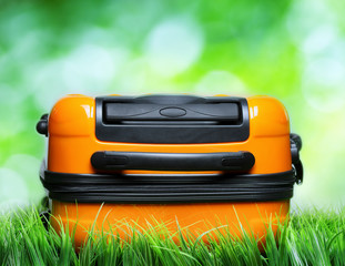 Orange suitcase in green grass on natural background