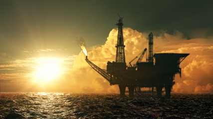 Oil platform in the sea at sunset - loop