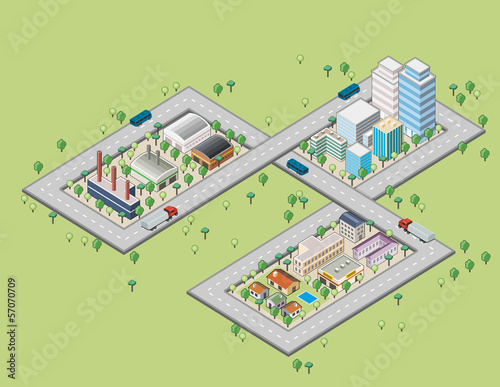 Colorful cartoon isometric city with river