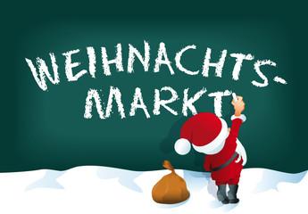 Weihnachtsmann schreibt Weihnachtsmarkt an Tafel