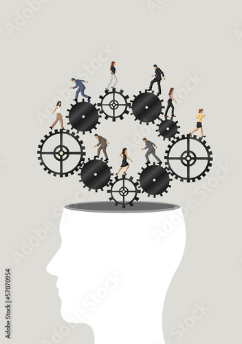 human head with business people over machine gear wheel