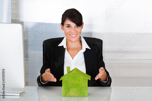 Businesswoman With Eco House