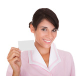 Happy Female Maid With Card