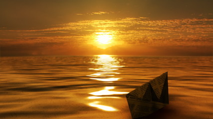 Paper boat floats in the sun
