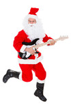 Portrait of a santa playing guitar