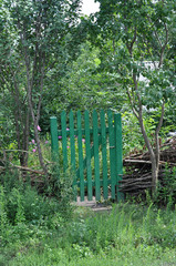 Old wooden gate in the garden