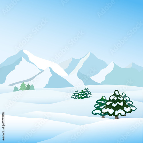 Winter view, vector