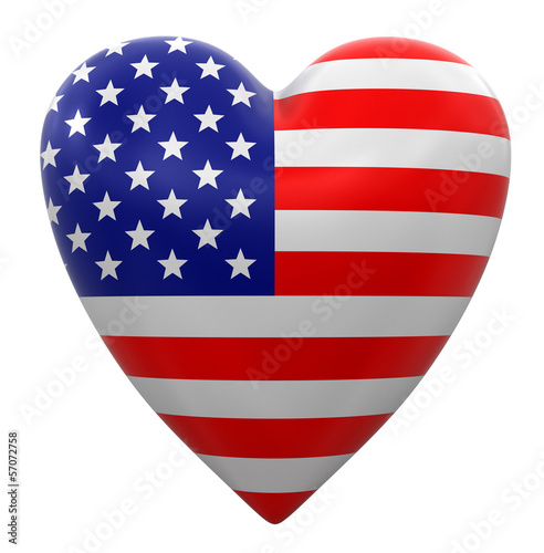 Heart with USA flag (clipping path included)