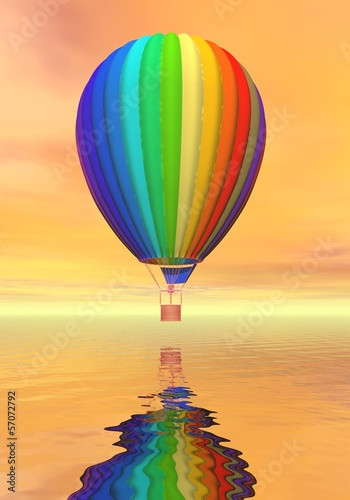 Colorful hot air balloon - 3D render