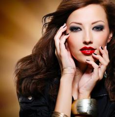 Woman with bright fashion eye makeup
