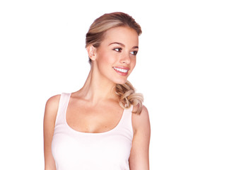 Beautiful blond girl with a lovely smile